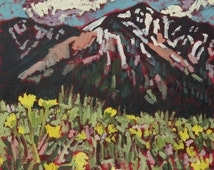 Mountain Wildflowers- original oil painting, mountains, green, flowers, trees, snow peaks, landscape, paintingsbyryno