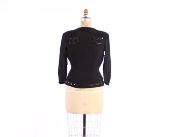 Vintage 40s BLOUSE / 1940s Beaded and Sequin Trimmed Fitted Black Rayon Top M