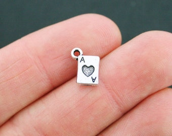 20 Ace of Hearts Charms Antique Silver Tone 2 Sided Card Small Size - SC3319