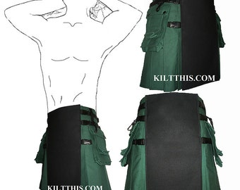 Interchangeable Green Black 10oz Canvas Hiker Utility Kilt Adjustable Custom Fit with Large Expanding Cargo Pockets