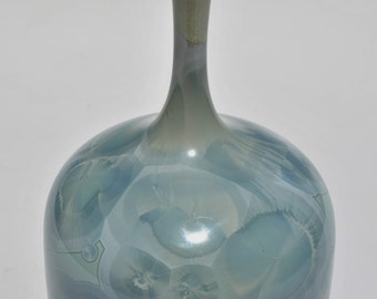 Blue and Green Crystalline Pottery Bottle