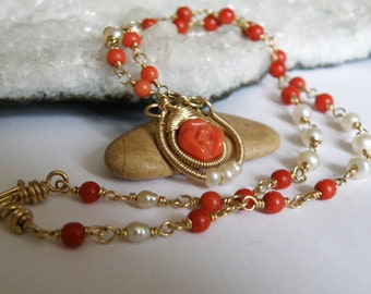 Italian Coral Rose necklace - wire wrapped - gold filled gauge - round red Coral beads - white Freshwater Pearls - Short gemstone necklace