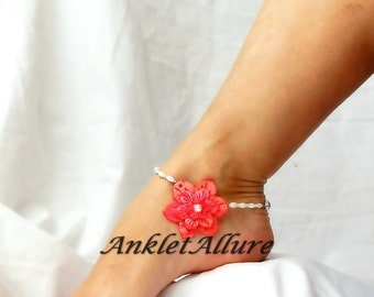 Beach Wedding Hawaiian Hibiscus Flower Anklet Beach Body Jewelry Pearl Shell Ankle Bracelet
