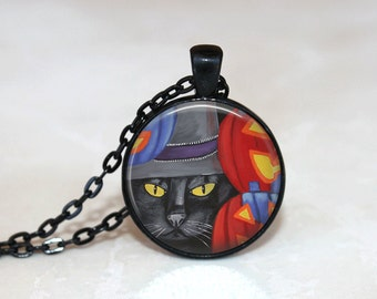 Halloween Necklace Halloween Jewelry GlassTile Necklace Black Necklace Glass Tile Jewelry Pumpkin Cat Jewelry Holiday Jewelry Black Jewelry