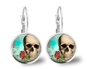 Skull Earrings Glass Tile Jewelry Skull Jewelry Day of the Dead Jewelry Silver Earrings Glass Tile Earrings Silver Jewelry Skull Jewelry