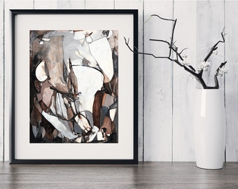 Fine Art Print, Black White Brown Tan Line Painting, Ink Painting, Original Abstract Art, Abstract Line, Original Abstract GICLEE Print