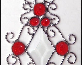 """Sun-Catcher - Red Glass Nugget Stained Glass Sun-Catcher - Handcrafted Stained Glass Sun Catcher - Decorative Wire Work - 4 1/2 x 8""""- 202-RD"""
