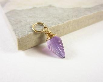14k Gold Charms - 14k Gold Jewelry - Wire Wrapped Jewelry Handmade - February Birthstone Jewelry - Natural Amethyst Purple Gemstone
