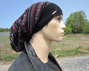 Oversized Dread Tam Hat Men's Big Baggy Cotton Knit Slouchy Beanie Fair Isle Dreadlock Tam Black Gray Red Winter Hat  A1880