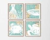 Map Beach Art Prints , Nautical Nursery Art , Whale Crab Wall Art ,  Octopus Wall Art , Map Ocean Beach Square Art , Nautical Nursery Art