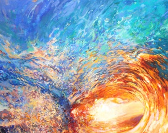 Ocean Wave Art Print litled Let it Wash over you, Wave breaking into sunset light, print of painting