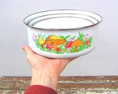 RESERVED LISTING Vintage Mushroom Nesting Set Enamel Metal Storage Serving Bowls