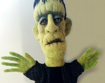 Needle Felted Frankenstein's Monster Puppet