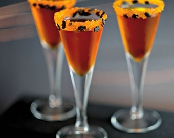 Halloween cocktail rim sugar - Halloween Bats rimming sugar drinks - black bats, orange sparkle sugar, Halloween decorations party ideas