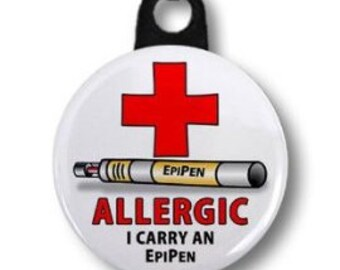 ALLERGIC I Carry an EPIPEN Medical Alert Zipper Pull Charm (Choose Size and Backing Color)