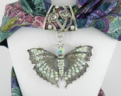Crystal Butterfly Scarf Slide ~ Scarf Jewelry ~ Large AB Rhinestone Pendant ~ Scarf Accessory~ Scarf Charm
