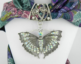 Crystal Butterfly Scarf Slide ~ Scarf Jewelry ~ Large AB Rhinestone Pendant ~ Scarf Accessory~ Scarf Charm