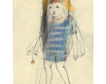 Child drawing illustration original portrait people figurative boy girl