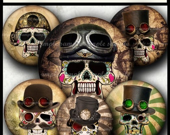 INSTANT DOWNLOAD Steampunk Sugar Skulls (790) 4x6 & 8.5x11 16mm circles Printable Digital Collage Sheet glass tiles cabochon earrings images