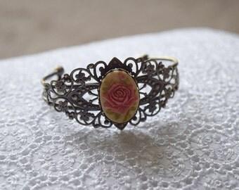 Pink Victorian Rose Bracelet - Victorian Cuff
