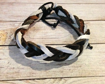 The Chloe Bracelet in Black and White Leather | Black Braided Bracelet | Neutral Bracelet | Simple Braided Bracelet | Black Leather Bracelet