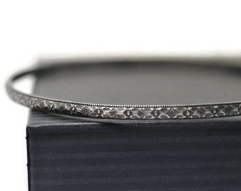 Floral Silver Bangle, Oxidized Silver Victorian Poesy Style Layered Jewelry, Women's Narrow Stack Bracelet