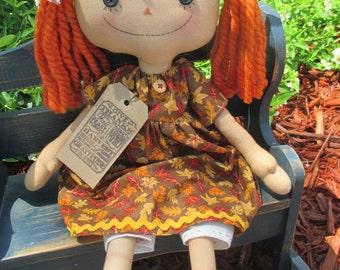 Pumpkin Haired Fall Raggedy with Leaf print dress