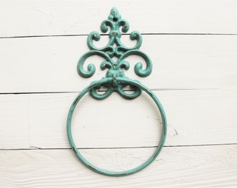 Old World,Cast Iron Towel Holder,In Annie Sloan Provence,Bathroom Decor  Distressed, Bathroom Fixture ,Scroll Cast Iron,Kitchen Towel Hanger