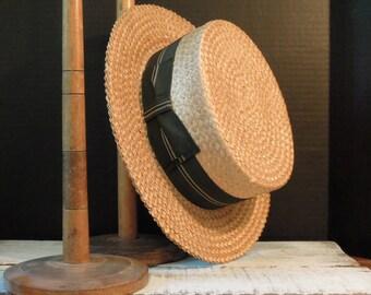 Vintage Boater Hat /  Stetson Hat / Custom Made / Vintage Skimmer Hat / Size 7 / Barbershop Quartet Hat