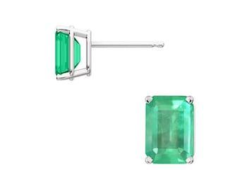 Emerald Cut Gold Stud Earrings, Four Prong Colombian Emerald Stud Earrings, Natural Emerald Solitaire Gold Earrings, Womens Emerald Earrings