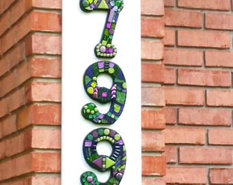 CUSTOM Mosaic House Numbers - Finished Orders Photographed at Their New Homes - SAMPLES ONLY - Please place your order on my home page......
