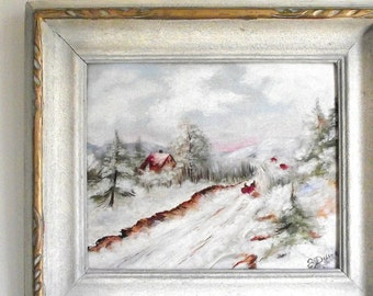Vintage Winter Landscape Painting / Framed Oil Painting / Shabby Cottage Chic / Original Signed By Artist