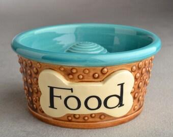 "Slow Feeder Dog Bowl Single Ready To Ship 5"" Dottie Dog Bowl by Symmetrical Pottery"