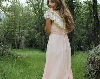 BELTAINE Vintage 1970's Maxi Dress Pink Boho Lace Neckline Fairytale Inspired Bridesmaids Dress Special Occasion (Two Available)