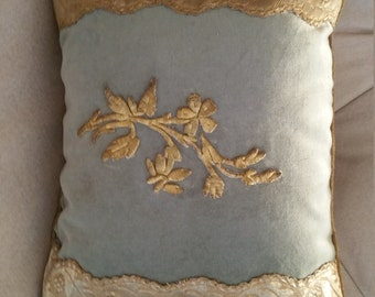 antique Ottoman Empire 18th century embroidery on new velvet ground 16x24 pillow blue green