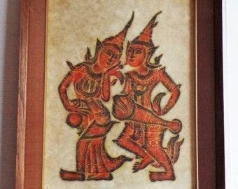 Mid century Thai Temple Rubbing classical dance dancers art artwork framed new old stock