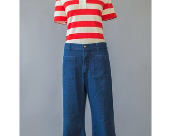 Vintage Striped Shirt Mod Top 60s Shirt Red & White Stripe Shirt Short Sleeve Zipper Back Pullover Top Striped T Shirt 1960s Shirt Mod Shirt