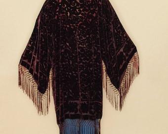Floral Stevie Bell Sleeve VELEVT BURNOUT Fringe Silk Gypsy Kimono- Wine