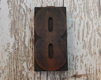 Large Letterpress Number 8 wooden 4 inches high