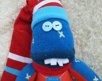 Surfer dude sock monster named Jim Bob.  Cuddly guy want to ride the wave to your home