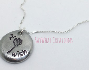 Custom Hand Stamped Pewter Pebble Necklace Lucky Pebble THICK