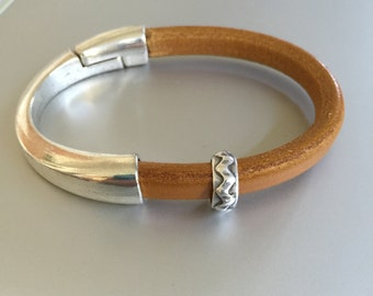 Silver Half Cuff and Leather Bracelet