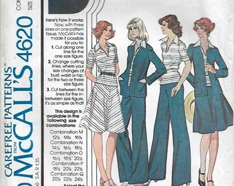McCalls 4620 Misses' 70s Jacket Shirt Skirt and Pants Sewing Pattern Bust 35, 37, 39