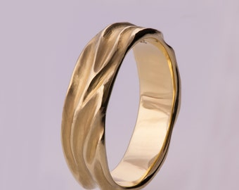 Dune No.2 - 14k Gold Ring , Wedding Ring , Wedding Ring , Wedding Band , Men's Ring, his and hers, grooms band, textured band, wave ring