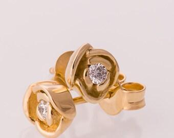 Flower Earrings, Rose Diamond Earrings, Gold Diamond Earrings,Diamond Earrings, Post Earrings, Solid Gold Earrings, Vintage, antique