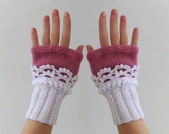 Fingerless gloves. Women Knit  Arm Wrist Warmers, winter Crochet  mittens, White Deep Fuchsia.