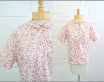 1960s Pink Floral Blouse