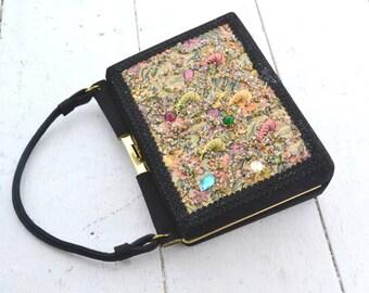 1950s Black Embellished Tapestry Purse