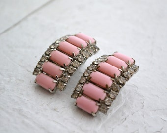 1950s Pink Glass and Rhinestone Clip Earrings