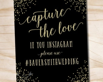 Black and Gold Confetti Glitter Instagram Wedding Sign 8x10 printable wedding sign - printable digital file